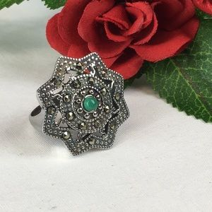 Green Howlite Marcasite Stainless Steel Ring